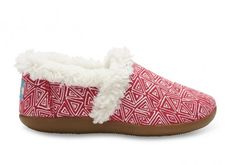 TOMS Pink Felt Tribal Youth Slippers