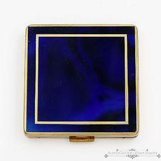 Antique Vintage Deco German Blue Glass Compact Case Makeup Purse!