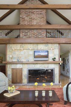 Boston Design and Interiors - Interior Designer - Boston - Craftsman - Transitional - Living Room - Rug - Wood Floor - Wood Furniture - Shelves - Display - Fireplace - Furnace - Exposed Brick - Neutrals - High Ceiling