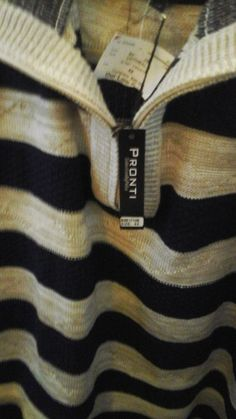 Men's Pronti Collection Black and Oatmeal   Striped Sweater 4x NWT #PRONTI #12Zip