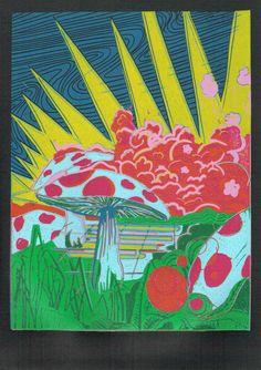 i funghi #2 Linoldruck auf 300 gr. säurefreiem Karton, 2014, Auflage: 10 Stück von mingoniaprintshop auf Etsy
