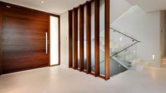Large wood stripes and glass balustrade