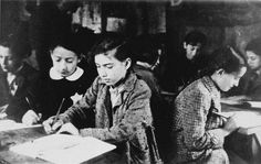 Jewish children in the classroom in the Kovno ghetto, Lithuania, 1940