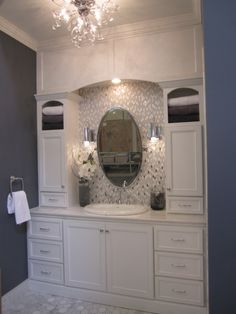 bathrooms - Sherwin Williams - Gibralter - tile from the Tile Shop Kirsty Froelich - white cabinets restoration hardware mirror