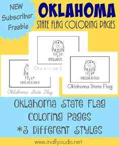Welcome to my Home State - Oklahoma! Kids can read about learn the history of the Oklahoma flag while coloring these pages! :: www.inallyoudo.net