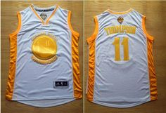Golden State Warriors #11 Klay Thompson White(Gold No.) Stitched NBA Jersey