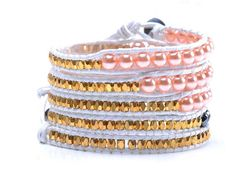 Lin Suu Jewelry White Leather Long Wrap Bracelet Pink 34 inches 5 Wraps * See this awesome image  : Jewelry Bracelets