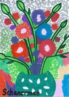 """Fiesta de Flores"" - - 5"" x 7"" Original heARTwork by Susan Schanerman"