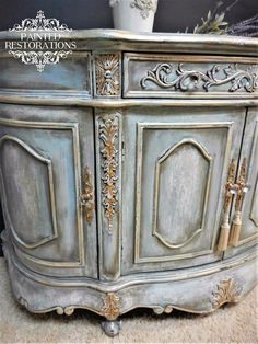 """How gorgeous is this piece in GF Persian Blue from Painted Restorations? """"French Inspired Accent Cabinet is Sure to have Star Status in Any Room it Graces! Chalk Paint Furniture, Hand Painted Furniture, Refurbished Furniture, Repurposed Furniture, Shabby Chic Furniture, Furniture Projects, Furniture Makeover, Vintage Furniture, Diy Furniture"""