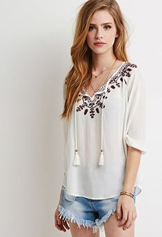 Floral-Embroidered Peasant Top | Forever 21 - 2000184641