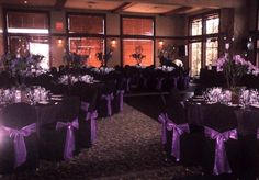 Trying to decide.Black tableclothes and black chair covers for the wedding Purple Black Wedding, Black Wedding Themes, Purple Wedding Decorations, Purple And Black, Wedding Ideas, Wedding Stuff, Banquet Decorations, Black Weddings, Quinceanera Decorations