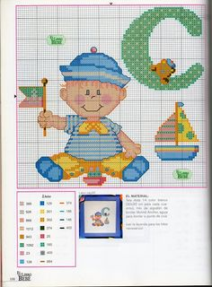 Solo Patrones Punto Cruz (pág. 1679) | Aprender manualidades es facilisimo.com Baby Cross Stitch Patterns, Cross Stitch Baby, Cross Stitch Charts, Cross Stitching, Cross Stitch Embroidery, Pixel Crochet Blanket, Cross Stitch Letters, Manta Crochet, Baby Quilts