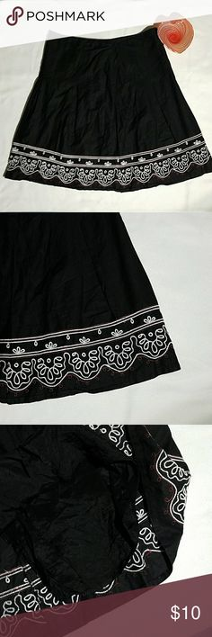 Loft Black Linen Skirt 12 Loft skirt fully lined, embroidered at bottom white and red. Linen,  good condition,  size 12 LOFT Skirts A-Line or Full