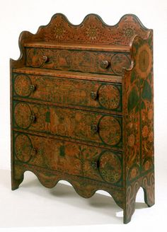 ❤ - Paint-decorated chest of drawers, George Robert Lawton, Sr., Portage County, Wisconsin, 1870