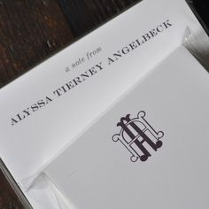 This mix-and-match, personalized stationery desk set is sure to wow! The Gray Collection is flat printed and letterpressed in eggplant & silver inks and customized with your name and monogram.  The pencils are a coordinating purple.  The white lacquer box includes:  150 sheet 4.25