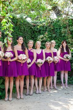 Bridesmaids in radiant orchid: http://www.stylemepretty.com/2014/09/23/15-ways-to-infuse-radiant-orchid-into-your-fall-wedding/