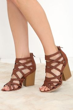 Cute hybrid heels like the Hear the News Cognac Caged Heels are the shoes to have! Shoes Heels Wedges, Lace Up Heels, High Heels, Strappy Sandals, Heeled Boots, Shoe Boots, Caged Heels, Dream Shoes, Peep Toe Pumps