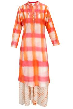 Orange and white embroidered kurta with block printed palazzos available only at Pernia's Pop-Up Shop.