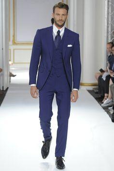 Cifonelli Men's RTW Spring 2016 Navy slim fit suit is cute, try Hugo Boss