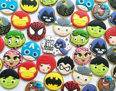 Superhero Sugar Cookies - Teen Titans - Avengers - Spiderman and Batman Cookies by Holli