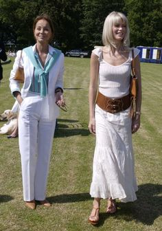 Claudia Schiffer With Isabel Preysler At The Porcelanosa Challenge Cup Polo Match At Ashe Park To Raise Funds For Local Youth Charities.