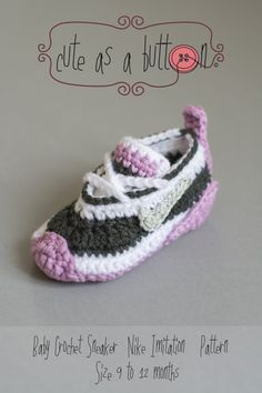 Cute crochet sneakers pattern, Nike Imitation **This is a listing for an instant download PDF crochet pattern** This pattern includes the