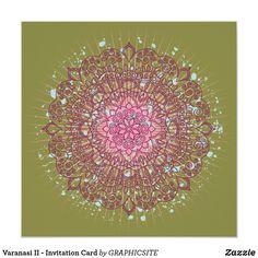 Shop Varanasi II - Invitation Card created by GRAPHICSITE. Invitation Cards, Invitations, Varanasi, Wedding Announcements, Mandala Design, Pink Fashion, White Envelopes, Rsvp, Back To School
