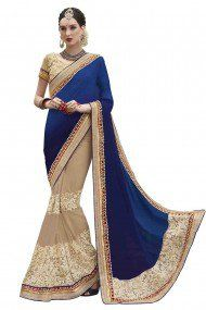 Indian Women Jaquard and Net Party Wear Designer Saree in Blue and Beige Colour
