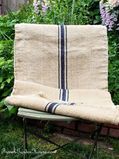 Antique French Blue Stripe Flax Hemp Linen Grain S