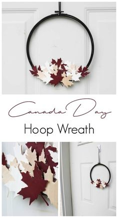 Outdoor Decorating/Gardening : A beautiful modern hoop wreath for Canada Day! Using a simple embroidery hoop and balsa wood maple leaves, you can celebrate the birthday of Canada in style! Love the red, white, and black! Wood Projects For Kids, Woodworking Projects For Kids, Woodworking Kits, Woodworking Bench, Project Ideas, Woodworking Techniques, Woodworking Quotes, Popular Woodworking, Craft Ideas
