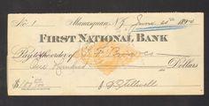 1890 Bank Check Receipt First National Bank Manasquan New Jersey NJ
