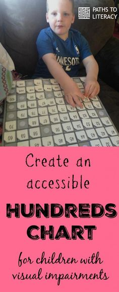 Create an accessible hundreds chart for children who are blind or visually impaired using braille and tactile materials