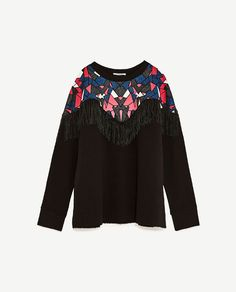 Image 6 of PRINTED SWEATSHIRT WITH FRINGING from Zara