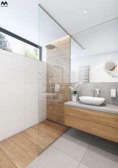 Bathroom Design Tile Walk In Shower Window 65 Super Ideas Master Bathroom Shower, Wood Bathroom, Small Bathroom, Natural Bathroom, Ensuite Bathrooms, Bathroom Showers, Mirror Bathroom, White Bathroom, Grey Floor Tiles Bathroom