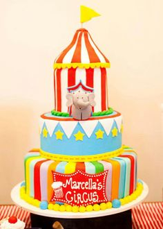 Love the cake! Carnival Cakes, Circus Carnival Party, Circus Theme Party, Circus Birthday, Birthday Cake, Birthday Parties, Circus Wedding, Carnival Parties, Circus Circus