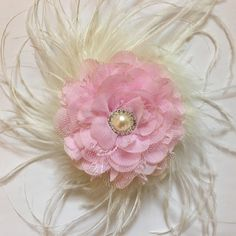 9f16b3b85e472 Fancy Ivory and Pink Feather Fascinator. Fancy Girl BoutiqueNYC Designs  Flower Girl Hairstyles