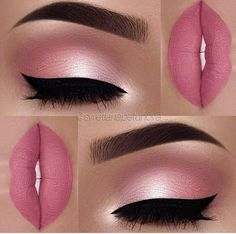 Makeup Idea In A Pink Color With Black Eyeliner A pink color is . - make up - Maquillaje Pink Makeup, Cute Makeup, Gorgeous Makeup, Pretty Makeup, Pink Wedding Makeup, Amazing Makeup, Pink And Black Eye Makeup, Bridal Makeup, Hair And Makeup