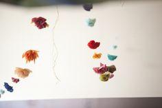 tissue paper flower garland.