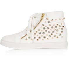TOPSHOP ACCELERATE Stud Wedge Trainers ($120) ❤ liked on Polyvore