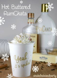 This Hot Buttered RumChata is the perfect drink to warm you up on a cold winter's night! #rum #rumchata #slowcooker #drinkrecipe