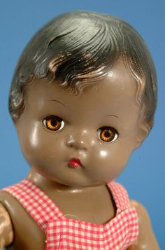 """17"""" composition Patsy Joan doll, uncommon black variation, United States, 1946, by Effanbee Doll Company."""