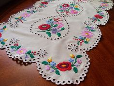 Traditional Hungarian Handmade Kalocsai Oblong by gimmoka on Etsy Cushion Embroidery, Motif Vintage, Hungarian Embroidery, Doilies, Table Runners, Embroidery Designs, Lord Krishna, Traditional, Hungary