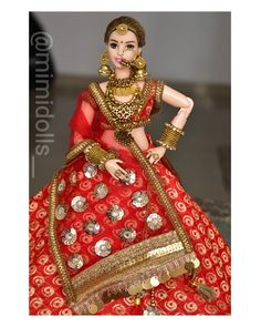 bride dolls Made to move curvy body type doll is used. Please Note: The color may be slightly different from the picture because of different display screens. Indian Wedding Bride, Indian Bride And Groom, Bride Groom, Punjabi Wedding, Indian Weddings, Wedding Couples, Boho Wedding, Dream Wedding, Wedding Ideas
