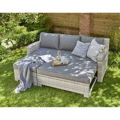 Oxborough Rattan Lounge Sofa With Pull Out Bed Garden Furniture Sets, New Furniture, Outdoor Furniture Sets, Garden Sofa Set, Corner Garden Seating, Grey Rattan Garden Furniture, Garden Day Bed, Garden Cushions, Pool Furniture