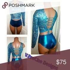 Sequin ??2piece Blue and teal sequin crop top with corset back opening. And metallic high waist bottoms included. V.PreCise Designs  Other