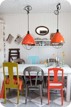 Love the look of different chairs for the table.  Maybe that is what I should do.  Maybe I should paint the table too...?