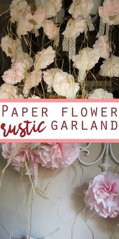 rustic paper flower garland is great addition for any rustic-country style wedding, birthday party, shower, photo props and any other special occasion | DIY paper flowers #Ad