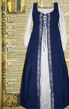 Costume Renaissance Medieval SCA Garb Navy Floral Frt Lcng Size Flex Cotton L XL