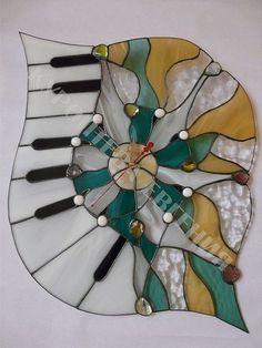 """Часы """" Музыка моря"""" - витражные часы,настенные часы,часы авторские,часы необычные"""
