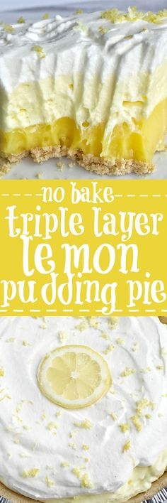 This easy & simple no bake triple layer lemon pudding pie is the perfect summertime dessert! You only need 5 ingredients for a sweet and creamy lemon pudding pie that is no bake and so simple to make | togetherasfamily.com